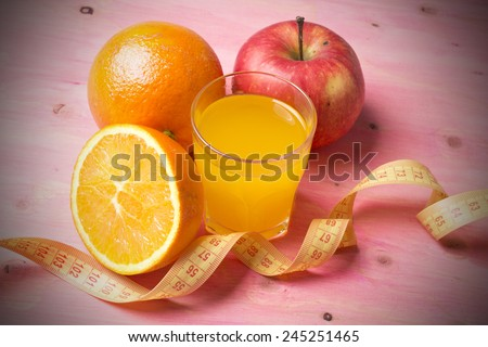 tape measure with fruit