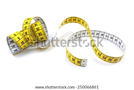 "Tape measure with letter "" e "" on white background.  - stock photo"