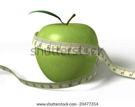 tape measure wrapped around the green apple - stock photo