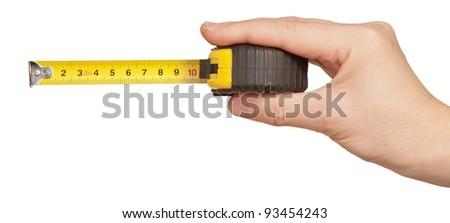 tape measuring in hand isolated on white - stock photo