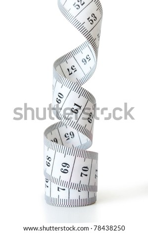 tape measuring isolated on white - stock photo