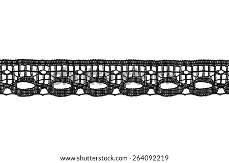 Tape of black border lace isolated over white - stock photo