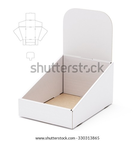 Tapered Shelf Box with Die Line Template - stock photo