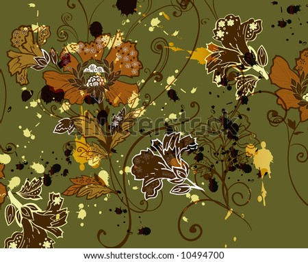 tapestry floral motif design with paint-splat detail - stock photo