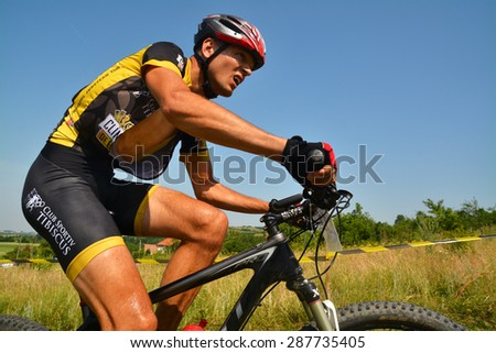 TAPIA, ROMANIA - JUNE 14: mountain bike rider in action during the Concordia Cup, June 14, 2015 in Tapia, Romania - stock photo