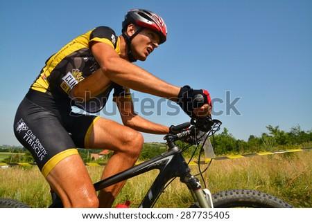 TAPIA, ROMANIA - JUNE 14: mountain bike rider in action during the Concordia Cup, June 14, 2015 in Tapia, Romania - stock photo