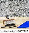 taping of the old wall paper wallpaper and tools for repair - stock photo