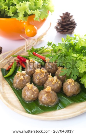 tapioca balls with pork filling on white background