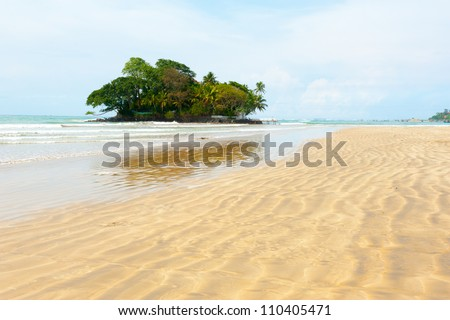 Taprobane Island landscape from Weligama beach in Sri Lanka - stock photo