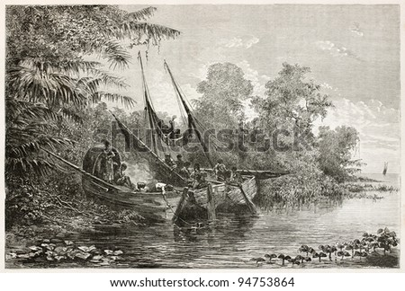 Tapuyas natives waiting high tide in Amazon river. Created by Riou, published on Le Tour du Monde, Paris, 1867 - stock photo