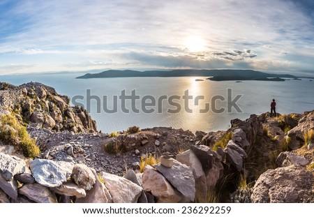 TAQUILE ISLAND, PUNO, PERU: panoramic view of the Titicaca lake. - stock photo