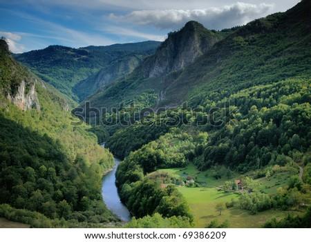 Tara river gorge in Montenegro mountains. - stock photo