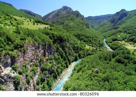 Tara river  in Montenegro mountains. - stock photo