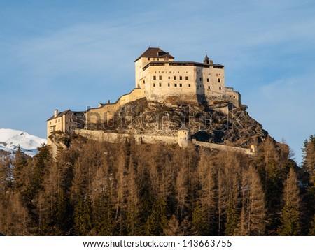 Tarasp castle near Scuol - stock photo