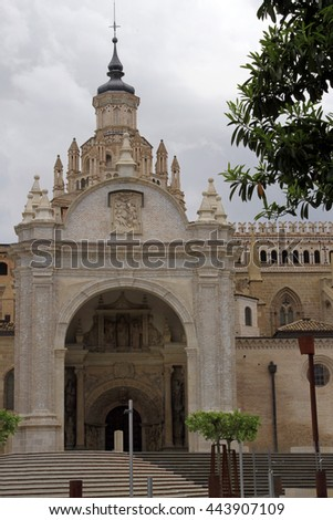 Tarazona cathedral in Zaragoza province, in aragon , spain