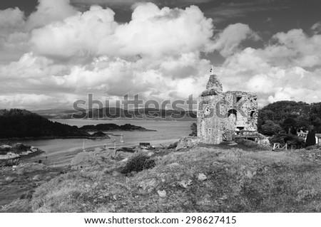 Tarbert Castle Loch Fyne, Kintyre, Scotland - stock photo