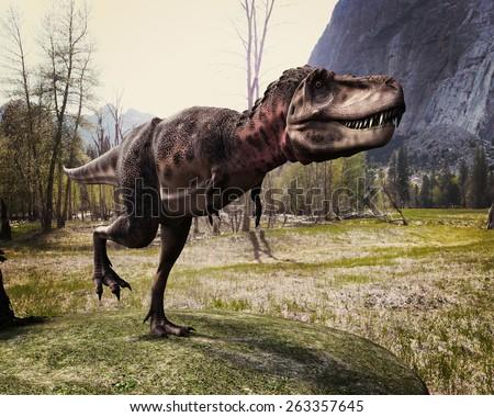 tarbosaurus walking in the woods - stock photo