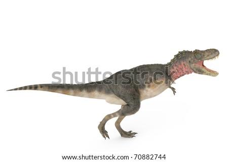 tarbosaurus walking side view - stock photo