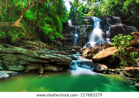 Tard Mork Waterfall, the beautiful waterfall in the north of Thailand - stock photo