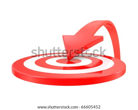 Target and arrow isolated on a  white background - stock photo