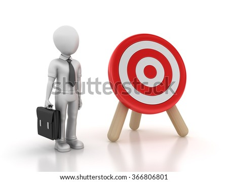Target and Businessman - High Quality 3D Rendering  - stock photo