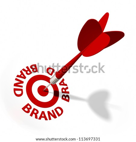 Target and dart with circular text. Part of a series. - stock photo