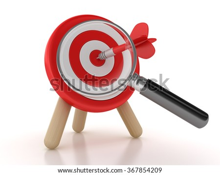 Target and Dart with Magnifying Glass - High Quality 3D Render
