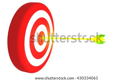 Target and glowing arrow, 3D illustration - stock photo