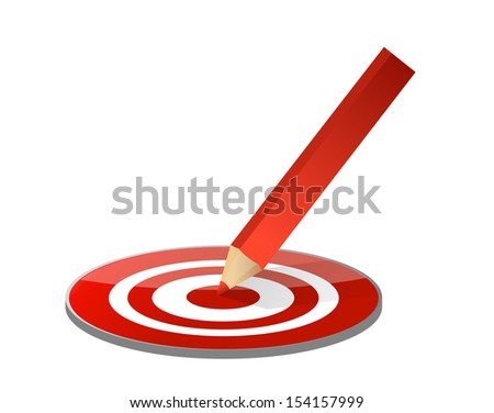 target and pencil illustration design over a white background