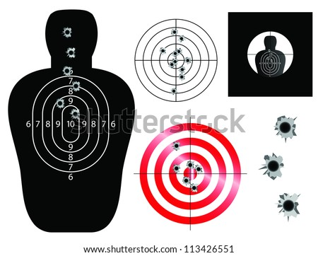 Target and sight illustrations with bullet holes - stock photo