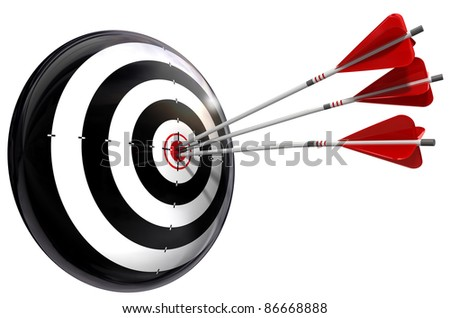 target and three arrows conceptual image isolated on white background