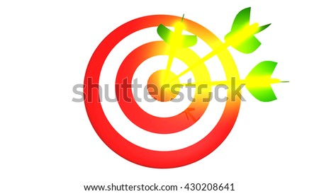 Target and three glowing arrow, 3D illustration