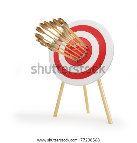 target arrow heart isolated on a white background - stock photo