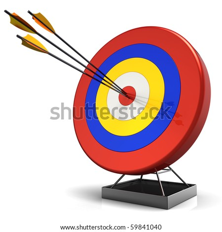 Target arrows center accurate precise hit bulls eye bullseye success perfection business fortune targeting luck icon concept. 3d render isolated on white background - stock photo