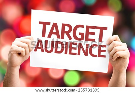 Target Audience card with colorful background with defocused lights - stock photo