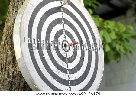 Target board and arrow in center.