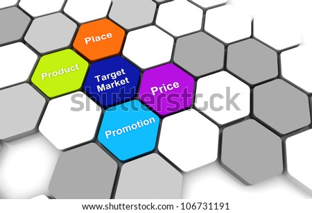 Target Business Plan 3D rendering Diagram connection beehive background - stock photo