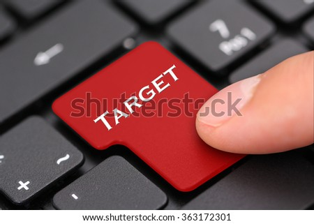 Target button - stock photo