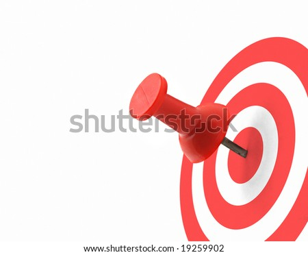 target concept - red thumbtack placed in the centre - stock photo