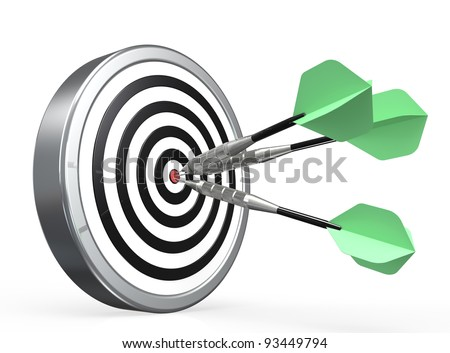 Target. Dartboard with Green Arrows X3 in the center. - stock photo