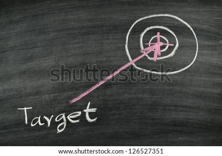 target drawing on blackboard - stock photo
