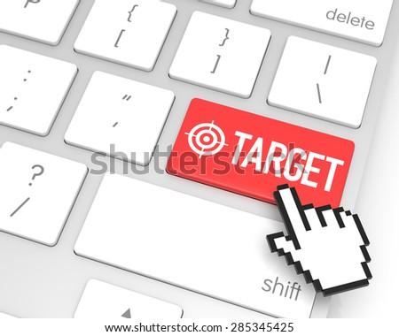 Target enter key with hand cursor. 3D rendering - stock photo