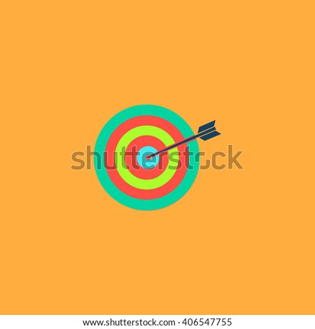 target Flat icon on color background. Simple colorful pictogram