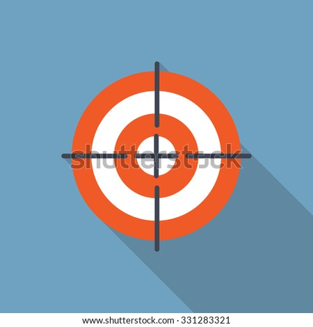 Target Flat Icon with Long Shadow, Illustration  - stock photo