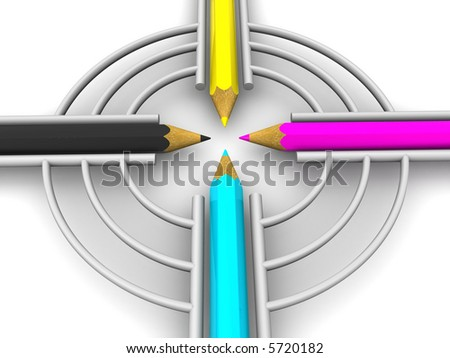 Target from pencils. CMYK. 3d - stock photo