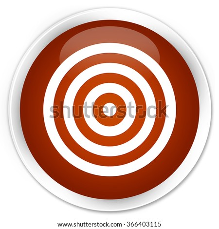 Target icon brown glossy round button - stock photo