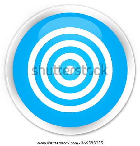 Target icon cyan blue glossy round button - stock photo