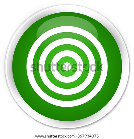 Target icon green glossy round button - stock photo