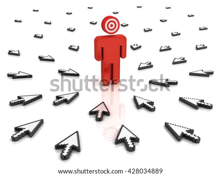 Target man with many arrow cursors aiming at him isolated over white background with reflection. 3D rendering. - stock photo
