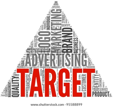 Target of marketing and advertising in word tag cloud on white background - stock photo